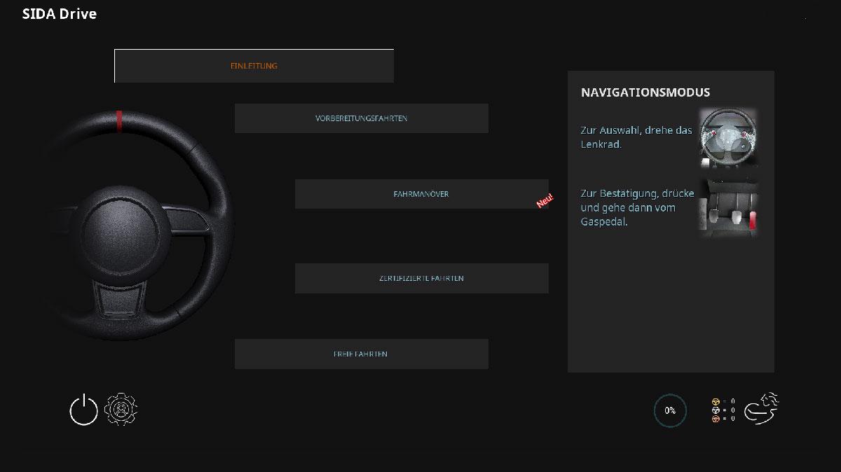 SIDA DRIVE - simulatore di guida - ScreenshotMenuEserciziTedesco web